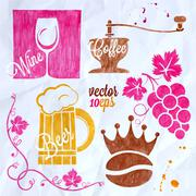 food and drink watercolor set coffee wine beer - stock illustration