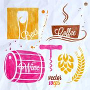 food and drink watercolor set beer wine coffee - stock illustration