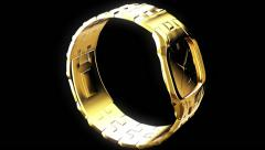Gold wristwatch with a rectangular dial - stock footage