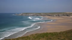 Holywell Bay North Cornwall coast England UK near Newquay and Crantock - stock footage