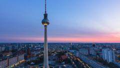 Berlin skyline time lapse zoom out Stock Footage