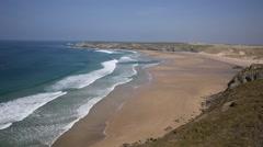 Holywell Bay North Cornwall coast England UK near Newquay Stock Footage