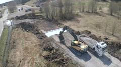 Aerial shot,  gravel dumping at road works 2,7K - stock footage