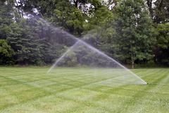 Lawn irrigation - stock photo