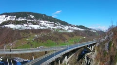 Bridge in the alps,  Europe aerial view Stock Footage