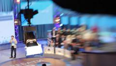 Working TV Studio. Live broadcast, media - stock footage
