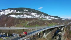 Bridge alps aerial view Stock Footage