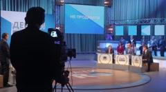 Debates in TV studios. Live broadcast, media - stock footage