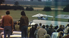 Biggleswade 1970s:  spectators watching an aircraft taking off at the airshow - stock footage