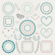 Vector Colorful Hand Drawn Floral Frames, Wreaths Stock Illustration