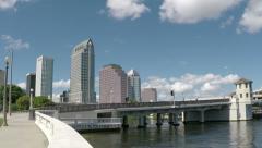 Tampa Skyline Pan Left Stock Footage