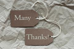 Two Brown Labels With Many Thanks Paper Background Stock Photos