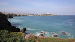 Newquay coast North Cornwall UKbeautiful Cornish coastal scene Stock Footage