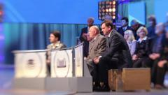 The audience at the debates in TV studios. Live broadcast, media - stock footage