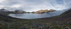 Panoramic view of crater lake active Khangar Volcano on Kamchatka Stock Photos