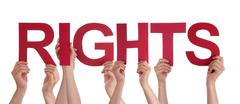 Many People Hands Holding Red Straight Word Rights Stock Photos