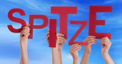 People Holding Word Spitze Means Super Blue Sky - stock photo