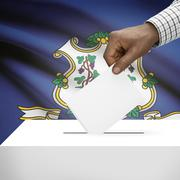 Stock Illustration of Voting concept - Ballot box with US state flag on background - Connecticut