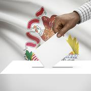 Stock Illustration of Voting concept - Ballot box with US state flag on background - Illinois