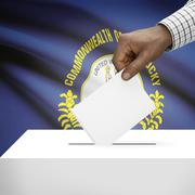 Stock Illustration of Voting concept - Ballot box with US state flag on background - Kentucky