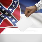 Stock Illustration of Voting concept - Ballot box with US state flag on background - Mississippi