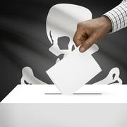 Voting concept - Ballot box with flag on background - Jolly Roger flag Stock Illustration