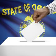 Voting concept - Ballot box with US state flag on background - Oregon Stock Illustration