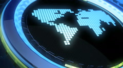 LCD world map moves in a vitreous cycle Stock Footage