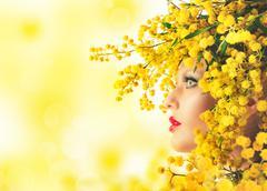 Woman mimosa beauty Stock Photos