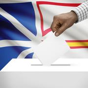 Voting concept - Ballot box with Canadian province flag on background - Newfo - stock illustration