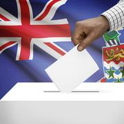 Ballot box with national flag on background - Cayman Islands - stock photo