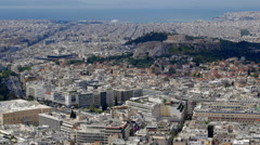 Athens, Greece Downtown and Acropolis Hill View Stock Footage