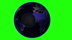 Earth with asteroid in universe, Globe and galaxy in a nebula cloud with meteors - stock footage