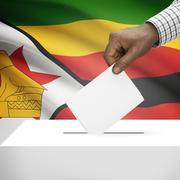 Ballot box with national flag on background - Zimbabwe - stock photo