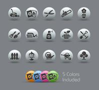 Gardening Icons // Pearly Series - stock illustration