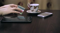 Mobile Banking. Input Of Credit Card Number. Stock Footage
