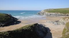 Polly Joke beach next to Crantock Cornwall England UK Stock Footage