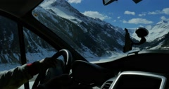 Mountains Car View 4k Stock Footage