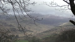 View of mountains in Snowdonia with clkoud cover. Stock Footage