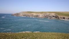 Porth Joke beach next to Crantock Cornwall England UK PAN Stock Footage