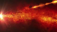 Red Animated background with musical notes Stock Footage