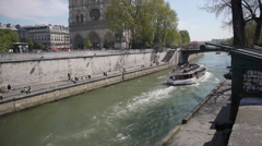 River Seine at Ile de la Cite. Paris, France Stock Footage