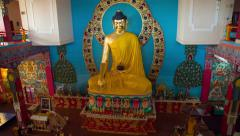 Big Statue Of Buddha in Temple Stock Footage