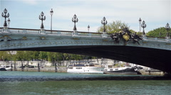 Pont Alexandre III over the river Seine at Paris, France Stock Footage