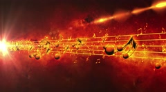 Red Animated background with musical notes - Seamless LOOP Stock Footage