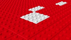 Abstract toy blocks in red and white - stock footage