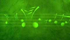 Green Animated background with musical notes Stock Footage