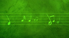 Green Animated background with musical notes - Seamless LOOP Stock Footage