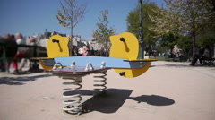 Children's playground at the park at the Notre Dame. Paris, France Stock Footage