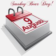 calendar 9 August, Smokey Bear Day . Vector - stock illustration